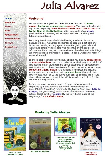 Julia Alvarez: offical website of the author -- website design and maintenance by Sienna M Potts