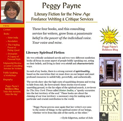 Peggy Payne: Literary Fiction for the New Age -- website design and maintenance by Sienna M Potts