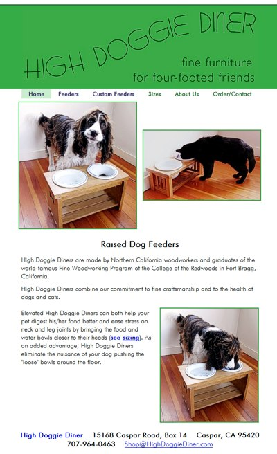 High Doggie Diner: raised dog feeders -- website design and maintenance by Sienna M Potts