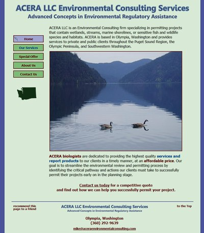ACERA LLC Environmental Consulting: Environmental Regulatory Assistance -- website design and maintenance by Sienna M Potts