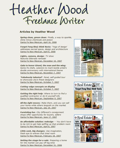 Heather Wood: Freelance Writer in Santa Fe, New Mexico -- website design and maintenance by Sienna M Potts