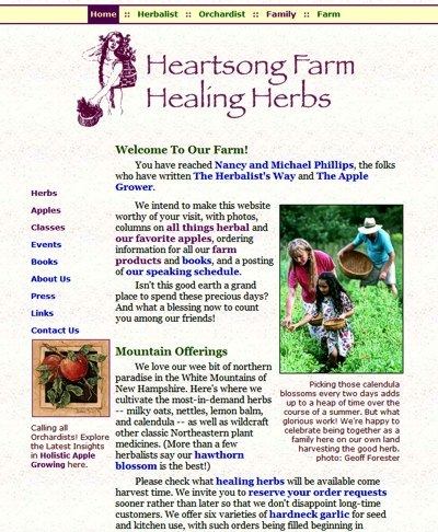 Heartsong Farm Healing Herbs: Herbalist & Orchardist, Nancy & Michael Phillips -- website design and maintenance by Sienna M Potts
