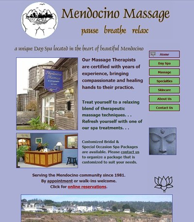 Mendocino Massage: Mendocino Day Spa -- website design and maintenance by Sienna M Potts