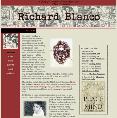 Richard Blanco: Poetry of Place, Home, and Identity -- website design and maintenance by Sienna M Potts
