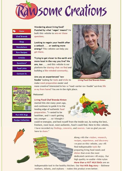Rawsome Creations: Raw Food Demos, Classes, Consultations & Sales -- website design and maintenance by Sienna M Potts