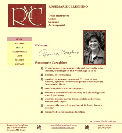 Rosemarie Cereghino: Voice Instructor, Coach, Soprano, Accompanist -- website design and maintenance by Sienna M Potts