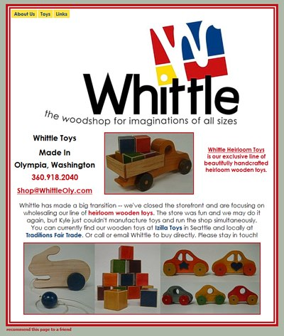 Whittle: the woodshop for imaginations of all sizes -- website design and maintenance by Sienna M Potts